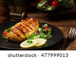 grilled chicken breast with... | Shutterstock . vector #477999013