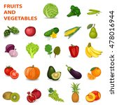 fruits and vegetables. set. | Shutterstock .eps vector #478016944