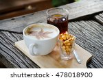 coffee and tea on the old wood... | Shutterstock . vector #478018900