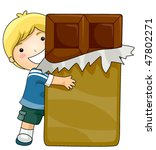 boy with chocolate   vector | Shutterstock .eps vector #47802271