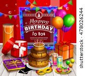 happy birthday greeting card.... | Shutterstock .eps vector #478026244