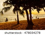 pataya sunset on the beach. the ... | Shutterstock . vector #478034278