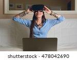 woman experiencing virtual... | Shutterstock . vector #478042690