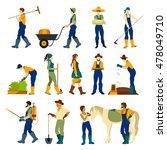 farmers at work harvesting... | Shutterstock . vector #478049710