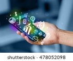 smartphone with finance and... | Shutterstock . vector #478052098