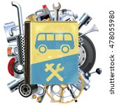 vector bus repair book with car ... | Shutterstock .eps vector #478055980