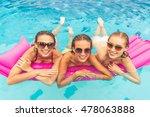 beautiful girls in swimwear and ... | Shutterstock . vector #478063888
