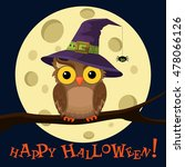 Cartoon Owl In Witch Hat On...