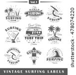 set of vintage surfing labels.... | Shutterstock .eps vector #478074220