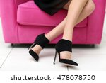 woman in stylish shoes on pink... | Shutterstock . vector #478078750