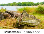 Very Old Rotting Boat Lying On...