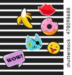 pop art fashion chic patches ... | Shutterstock .eps vector #478098688