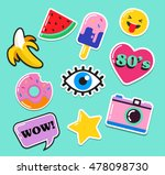 pop art fashion chic patches ... | Shutterstock .eps vector #478098730