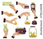 set. hands. money. vector. | Shutterstock .eps vector #478114048