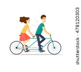 couple riding tandem bicycle... | Shutterstock .eps vector #478120303