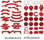 set of red ribbons and... | Shutterstock .eps vector #478120324