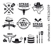 set of barbecue steak house... | Shutterstock .eps vector #478126339