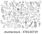 hand drawn vegetables doodle... | Shutterstock . vector #478130719