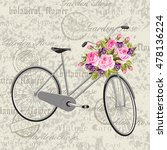 gray bicycle with a basket full ... | Shutterstock .eps vector #478136224