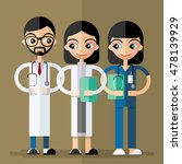 smiling male and female doctors ... | Shutterstock .eps vector #478139929