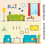 illustration set of interiors... | Shutterstock .eps vector #478148398