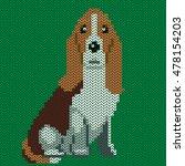 vector knitted dog pattern....   Shutterstock .eps vector #478154203
