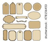 Set of hand drawn blank vintage frames, tags and labels. Isolated vectors, doodle objects.