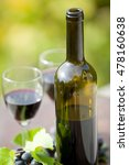 wine bottle and grapes on... | Shutterstock . vector #478160638
