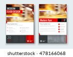 Red flyer. Corporate business annual report brochure flyer design. Leaflet cover presentation. Flier with Abstract geometric background. Modern publication poster magazine, layout template A4  | Shutterstock vector #478166068