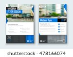 Blue flyer. Corporate business annual report brochure flyer design. Leaflet cover presentation. Flier with Abstract geometric background. Modern publication poster magazine, layout template A4  | Shutterstock vector #478166074