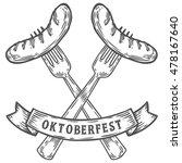 oktoberfest sausage on fork.... | Shutterstock .eps vector #478167640