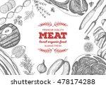 vintage meat frame. vector... | Shutterstock .eps vector #478174288
