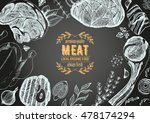 vintage meat frame. vector... | Shutterstock .eps vector #478174294