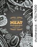 vintage meat frame. vector... | Shutterstock .eps vector #478174300