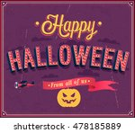 happy halloween typographic... | Shutterstock .eps vector #478185889