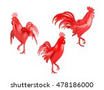 set of three red roosters... | Shutterstock . vector #478186000
