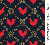 red rooster seamless pattern.... | Shutterstock .eps vector #478202530