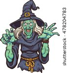 evil cartoon witch. vector clip ... | Shutterstock .eps vector #478204783
