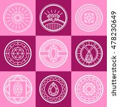jewel line square pink logo set ... | Shutterstock . vector #478230649