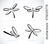 Stock vector vector group of dragonfly sketch on white background 478235770