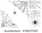 web and black poisonous spider. ... | Shutterstock .eps vector #478237339