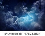 Space Of Night Sky With Cloud...