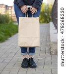 girl holding ecological... | Shutterstock . vector #478268230