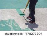 hand painting a green floor... | Shutterstock . vector #478273309