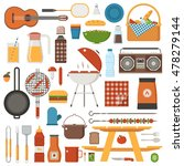 barbecue and picnic set. family ... | Shutterstock .eps vector #478279144