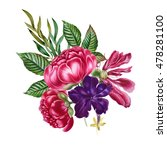watercolor bouquet with pink... | Shutterstock . vector #478281100