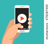 smartphone with video player on ... | Shutterstock .eps vector #478287400