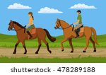 man and woman riding horse in... | Shutterstock .eps vector #478289188