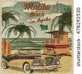 malibu beach  california retro...   Shutterstock . vector #478292530
