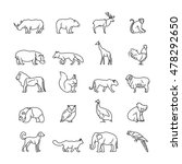 animals thin line vector icons. ... | Shutterstock .eps vector #478292650